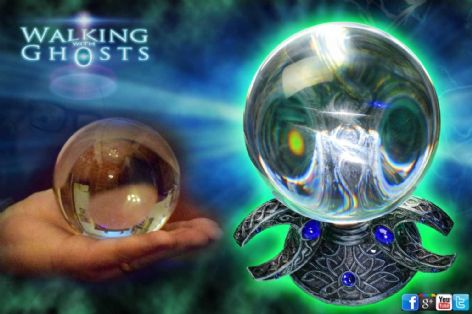 10cm Crystal Ball & Triple Moon Stand Mystical Scrying Gazing Paranormal